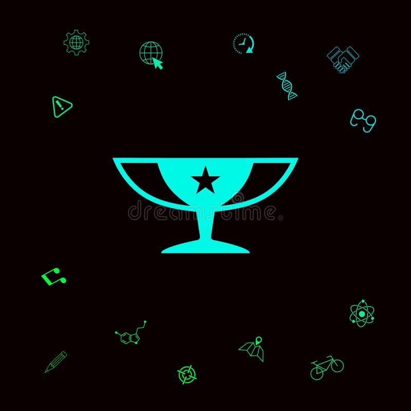 Nagroda mistrzów filiżanki ikona z gwiazdą royalty ilustracja