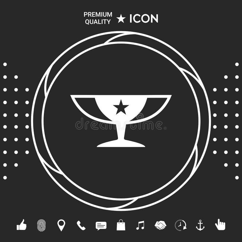 Nagroda mistrzów filiżanki ikona z gwiazdą ilustracja wektor