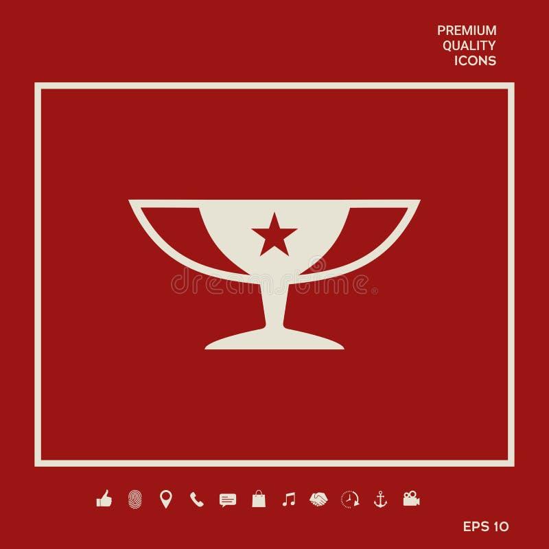 Nagroda mistrzów filiżanki ikona z gwiazdą Graficzni elementy dla twój projekta royalty ilustracja