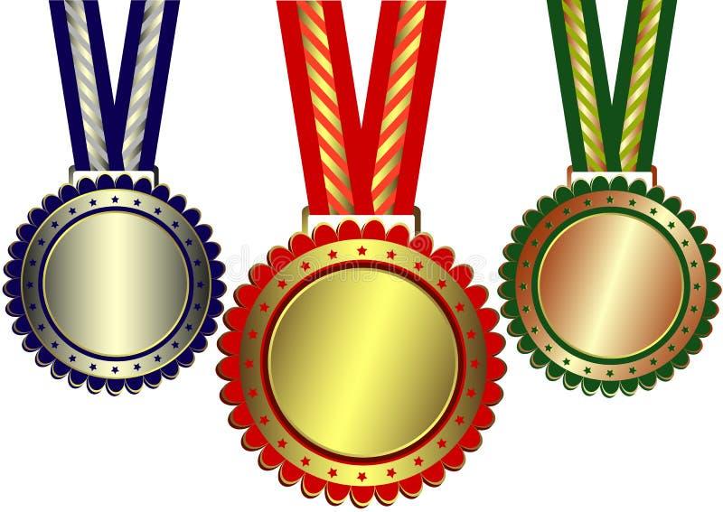 nagrody brązowieją złota srebro royalty ilustracja