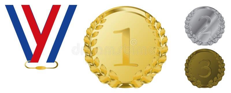 nagrody brązowy złocisty faborków srebra wektor ilustracja wektor
