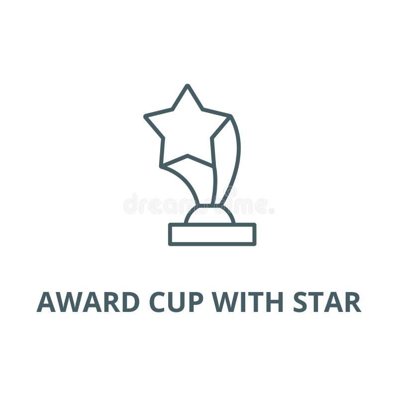 Nagrody filiżanka z gwiazdy linii ikoną, wektor Nagrody filiżanka z gwiazdowym konturu znakiem, pojęcie symbol, płaska ilustracja royalty ilustracja