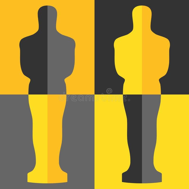 Nagrody filmowa ikona w mieszkanie stylu odizolowywającym na białym tle Filmy i kinowa symbolu zapasu wektoru ilustracja royalty ilustracja