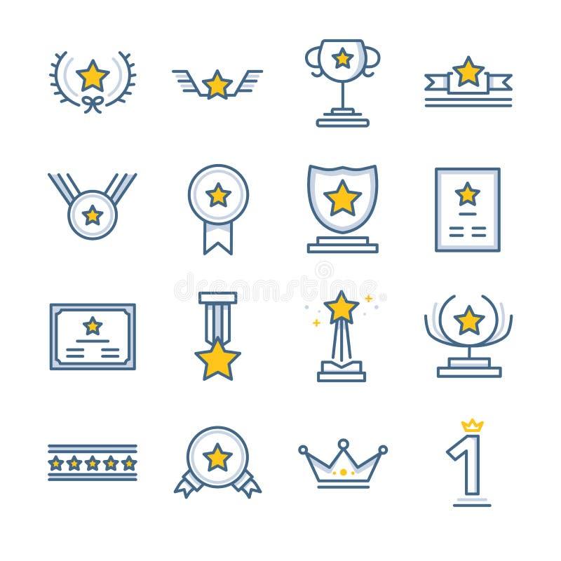 Nagrody i nagrody ikony ustawiać royalty ilustracja
