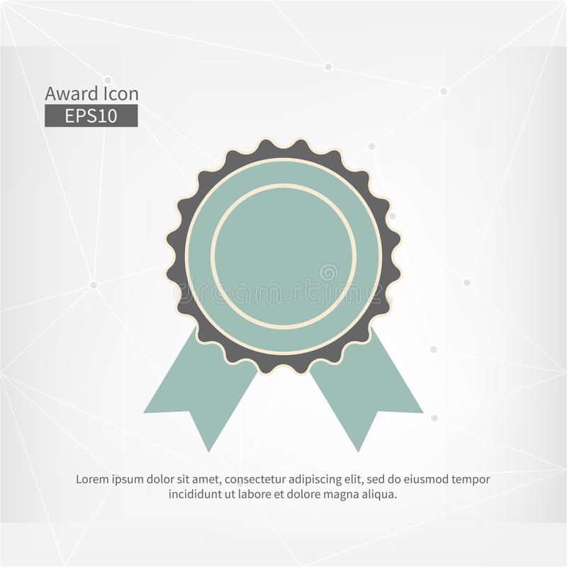 Nagrody ikona odizolowywająca Wektorowy infographic znak dla Pierwszy miejsca Popielaty błękitny okręgu symbol z faborkiem na abs ilustracja wektor