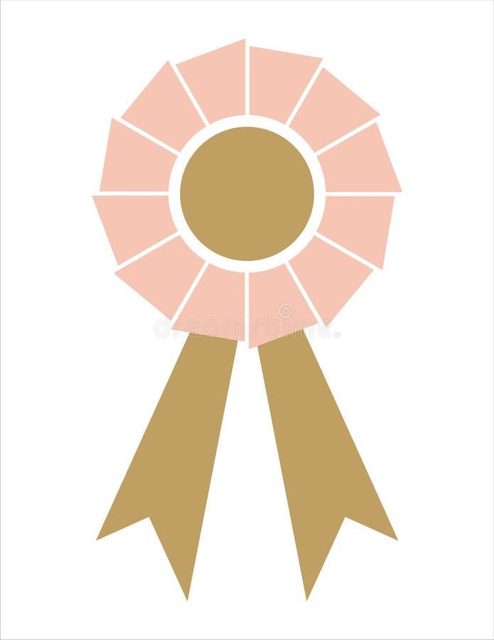 nagrody odznaki złota różową wstążkę ilustracja wektor