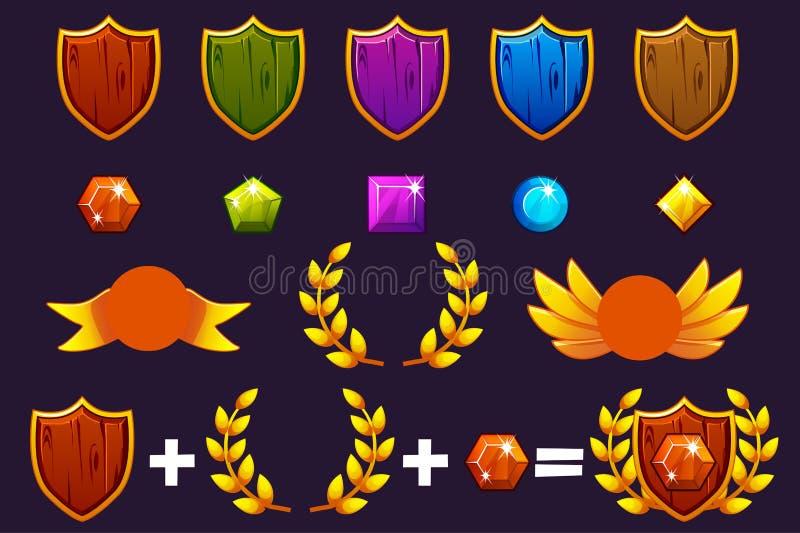 Nagrody Osłaniają i klejnoty ustawiający, konstruktor tworzyć zestaw różne nagrody Dla gry, interfejs użytkownika, sztandar, zast royalty ilustracja