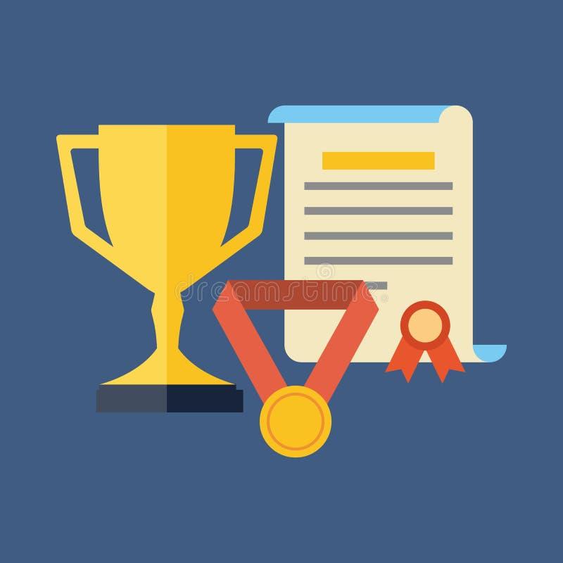 Nagrody, osiągnięcia, nagradzają pojęcie Płaski projekt royalty ilustracja