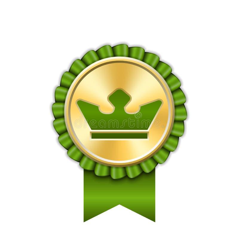 Nagrody tasiemkowa z?ocista ikona Złoty zielony medal korony projekt odizolowywał białego tło Symbolu zwycięzcy świętowanie, najl ilustracji