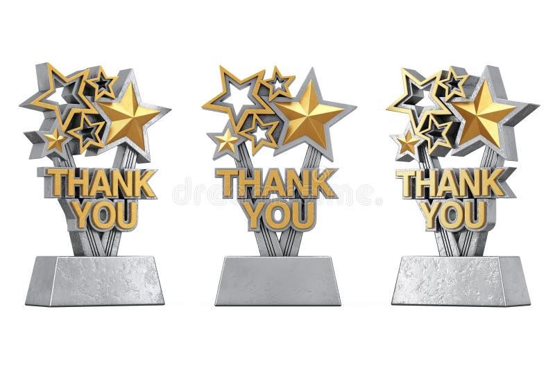 Nagrody trofeum z Złotym Dziękuje Ciebie Szyldowego świadczenia 3 d ilustracja wektor