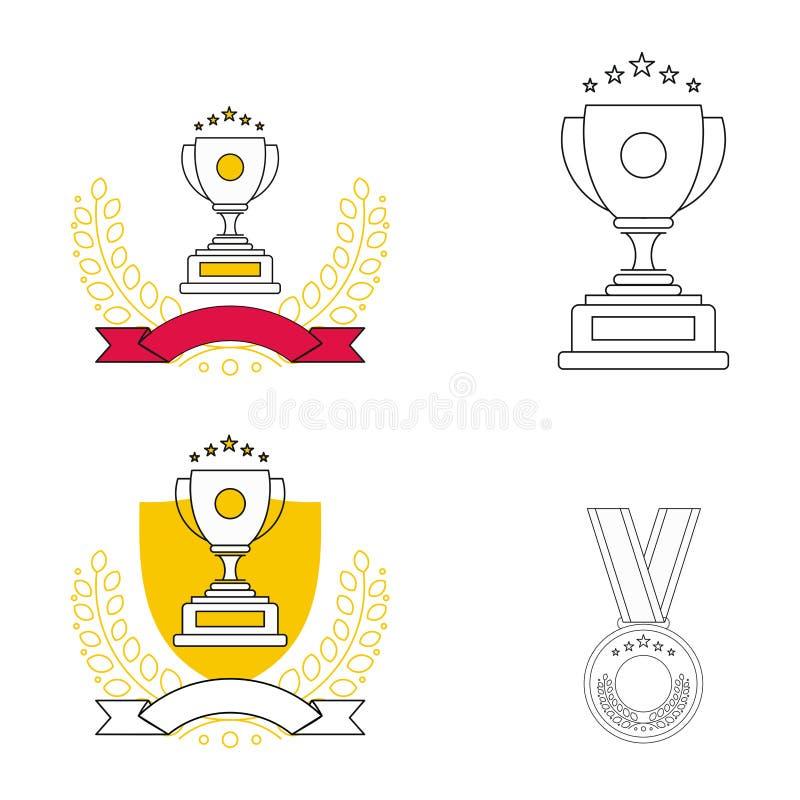 Nagrody Wykładają ikony Ustawiać Nowożytni konturów elementy, graficznego projekta pojęcia, prości symbole inkasowi Wektor kresko ilustracji