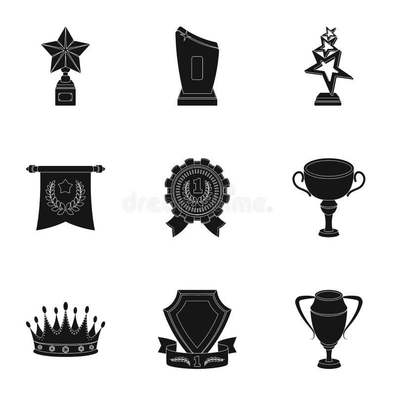 Nagrody, złoci medale i filiżanki jako nagrody w, rywalizacjach i rywalizacjach Nagrody i trofeum ikona w ustalonej kolekci dalej ilustracja wektor