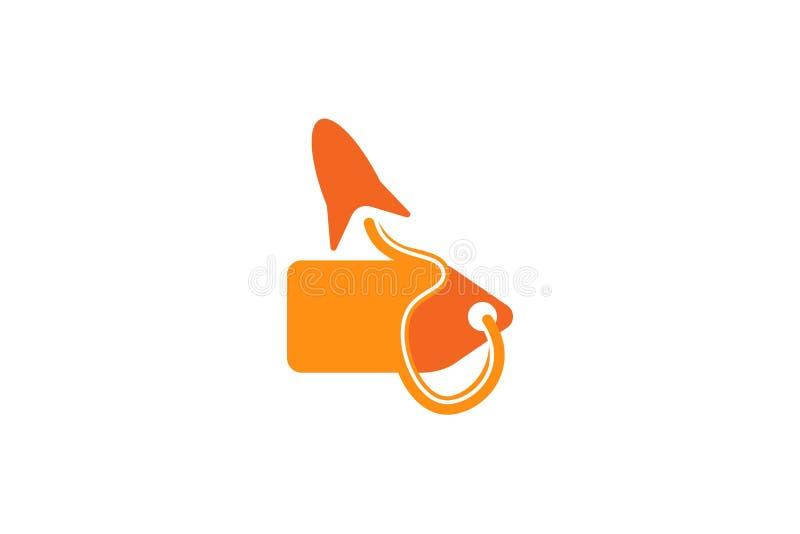 nagrodzona etykietka i rakieta, sklepowy logo Projektujemy inspirację Odizolowywającą na Białym tle royalty ilustracja
