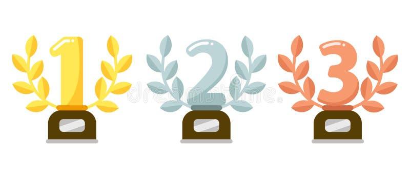 Nagrodzoni trofea Złota pierwszy miejsce filiżanki nagroda, srebny laurowy wianek i nagrody, brązowiejemy trofeum płaską wektorow ilustracja wektor