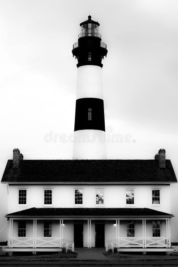 Bodie Island Lighthouse in black and white stock photography