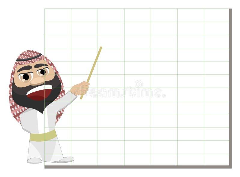Nahöstlicher arabischer Analytiker, der Schmieröl-Diagramm zeigt vektor abbildung