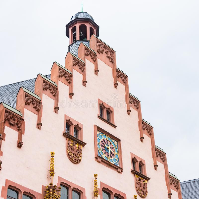 Nah herauf Detail an Romerberg-Quadrat, Frankfurt, Deutschland errichten lizenzfreies stockfoto
