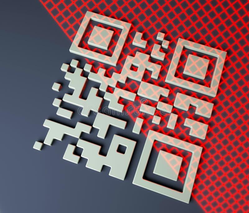 Nah oben vom qr Codescannen, 3d übertragen Sie, roter Gitterscannenbarcode, Illustration 3d lizenzfreie abbildung