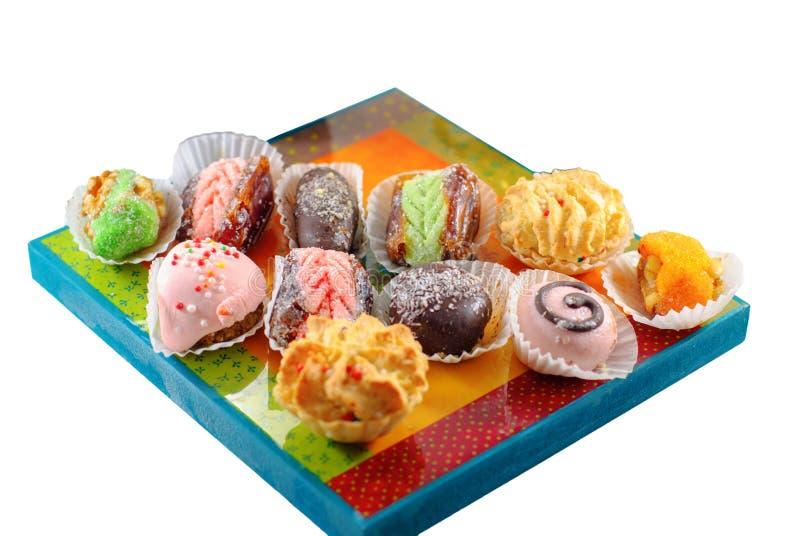 Nah?stliche Nachtische Arabische Bonbons Hennastrauch und Mimouna Cookies stockfotografie