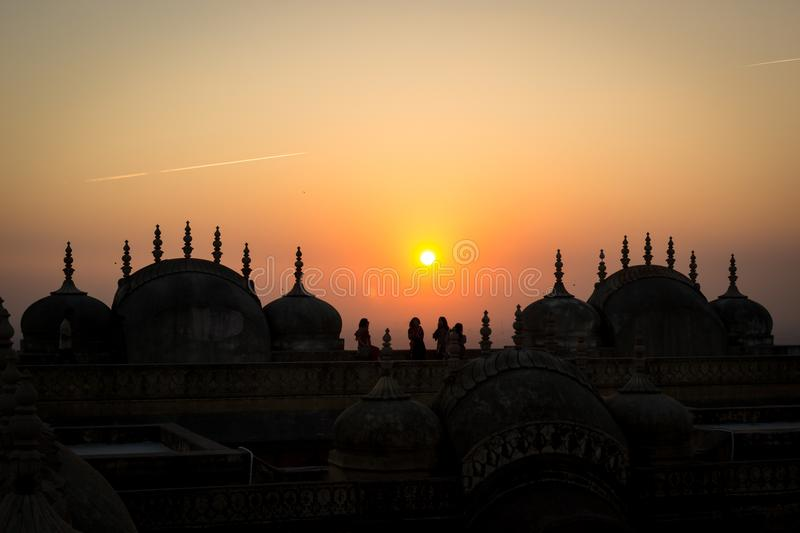 Nahagarh Fort at sunset, the pink city of Jaipur, Rajasthan, India stock photography