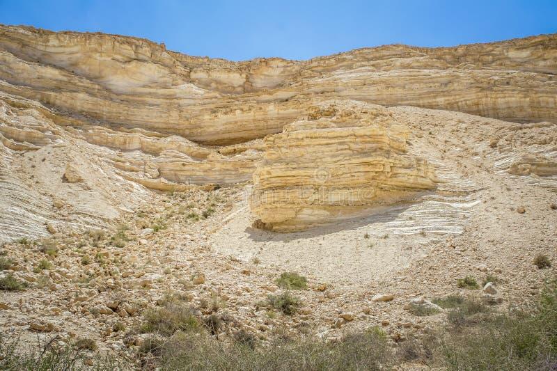 Nahal Zin w pustynia negew, Izrael obrazy stock