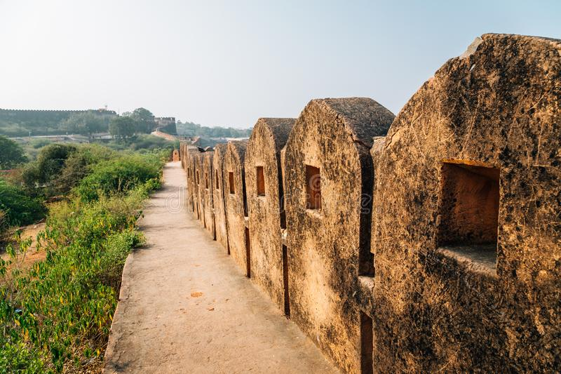 Nahargarh堡垒历史建筑学在斋浦尔,印度 图库摄影
