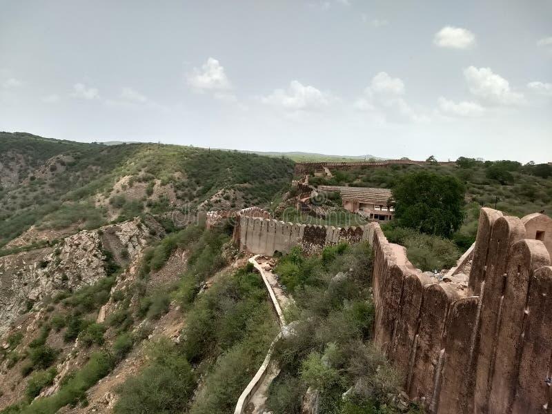 Nahargarh堡垒墙壁  免版税库存照片