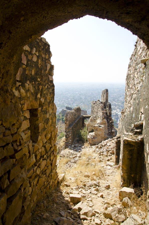 Nahargarh堡垒废墟在斋浦尔,拉贾斯坦,印度 免版税图库摄影