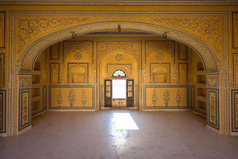 Nahargarh堡垒,斋浦尔,印度内部  库存图片