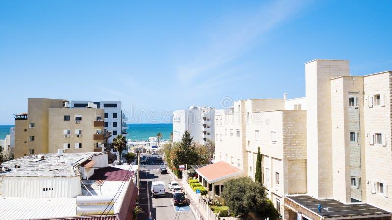 NAHARIJA, ISRAEL 9. MÄRZ 2018: Vogelperspektive Naharija ist die nördlichste Küstenstadt in Israel stockfoto