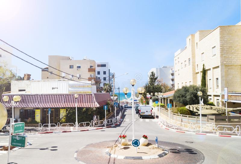 NAHARIYA ISRAEL-MARCH 9, 2018: Flyg- sikt Nahariya är den nordligast kust- staden i Israel royaltyfria bilder