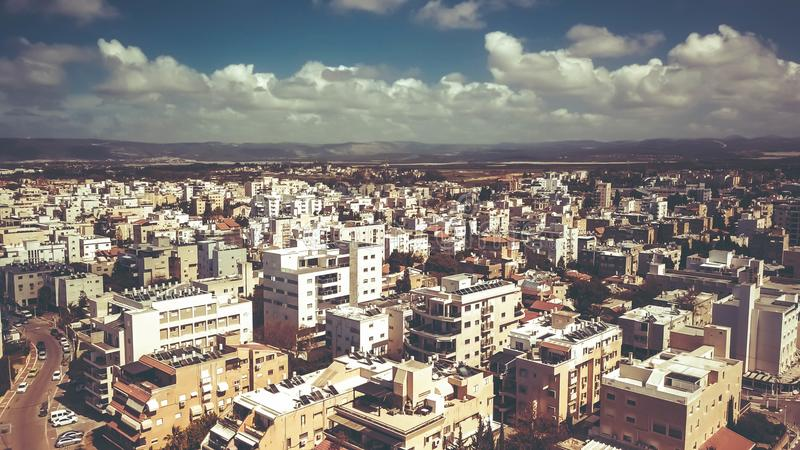 NAHARIYA, ISRAELE 9 MARZO 2018: Vista aerea alla città di Nahariya, Israele fotografia stock libera da diritti