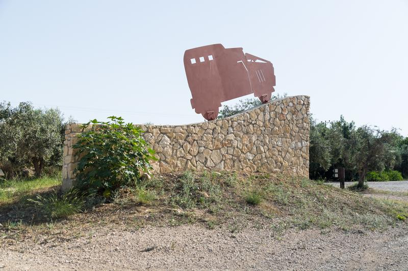 A memorial plinth near the place with the ambushed fighting vehicles of the Haganah - the IDF - during the War of Independence nea. Nahariyya, Israel, 16 June royalty free stock photo