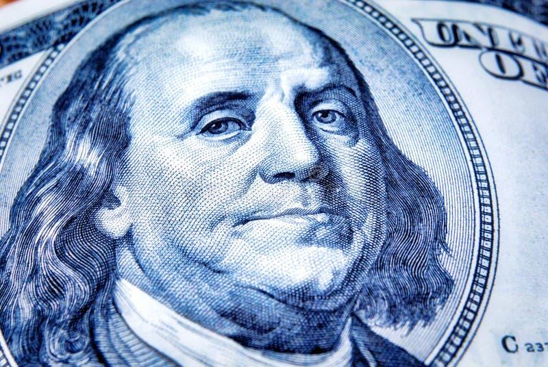 Nahaufnahme auf amerikanischer Währung Benjamins FranklinØŒ lizenzfreie stockfotos