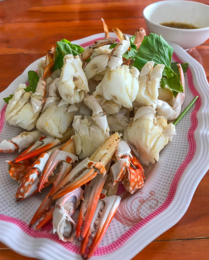 Nahaufnahme dämpfte Krebsfleisch, Scheide oder Paddelbein, thailändische asiatische Meeresfrüchte stockfoto