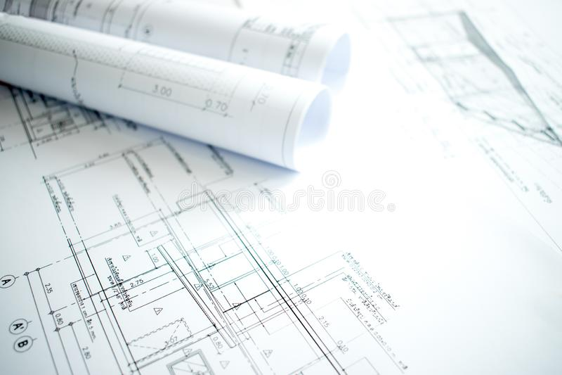 Nahaufnahme der Architektur mit Details des Baus und des Entwurfs auf der Ingenieurtabelle stockbild