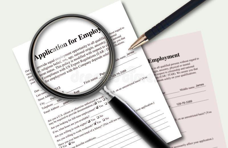 Nahaufnahme der gefüllten Anwendung der Beschäftigung stock abbildung