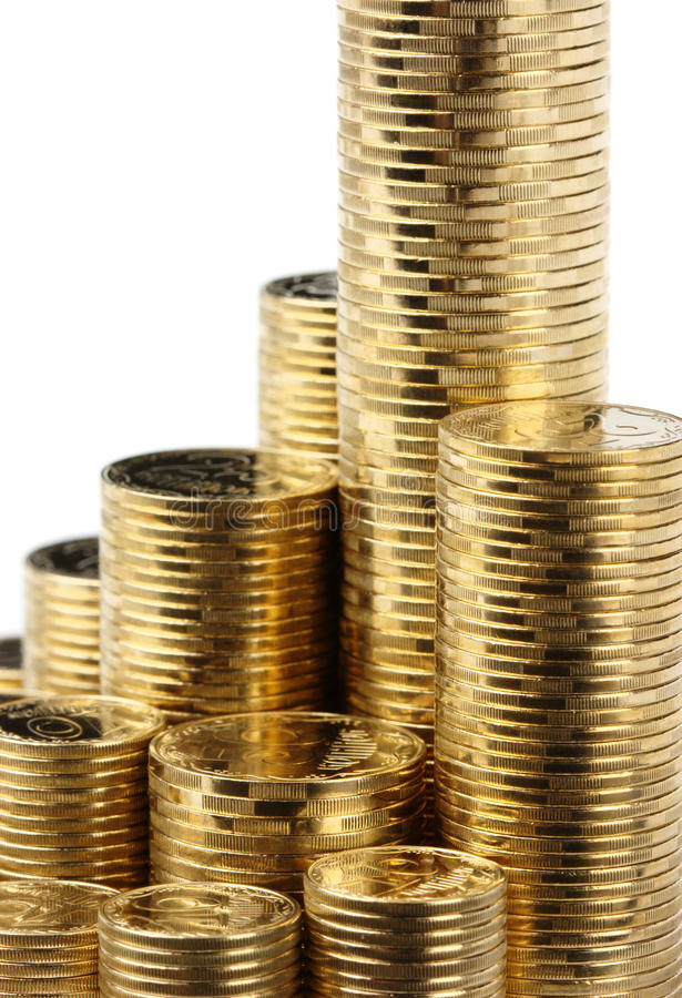 Nahaufnahme der goldenen Münzen stockbild