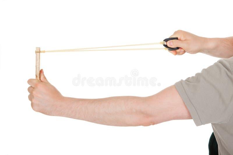 Nahaufnahme der Hand Riemenschuß ziehend stockbilder
