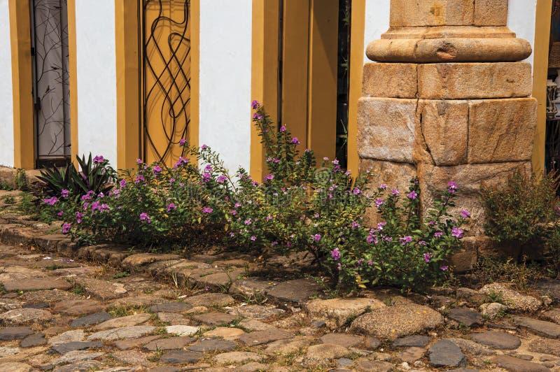Nahaufnahme der Kopfsteingasse mit alten bunten Türen und geblühten Büschen in Paraty stockfoto