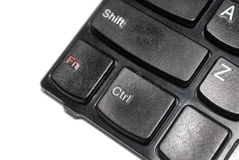 Nahaufnahme der Laptoptastatur mit Knöpfen 'Verschiebung ', 'Ctrl 'und 'F-N 'lokalisiert auf weißem Hintergrund stockbilder