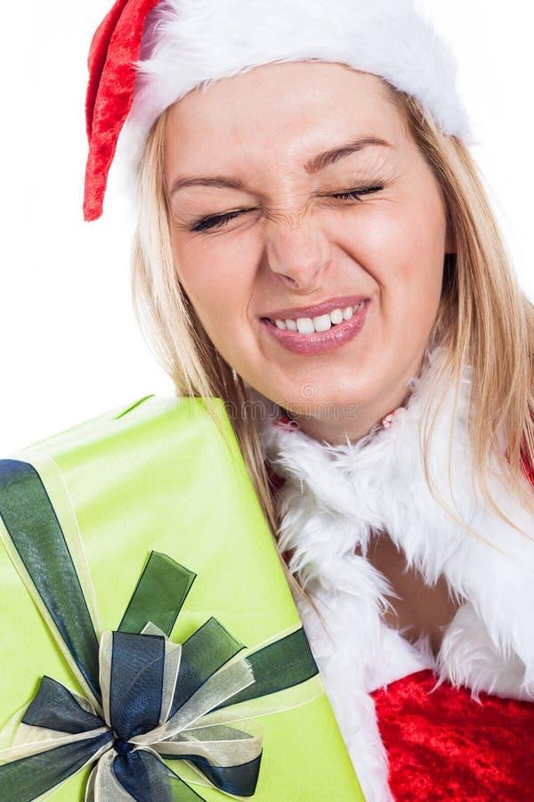 Nahaufnahme der lustigen Weihnachtsfrau lizenzfreie stockfotos