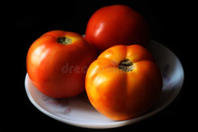 Nahaufnahme der neuen Runde formte organische rote Tomaten stockfotos