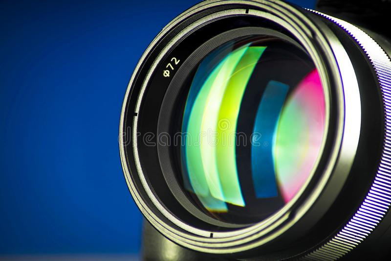 Nahaufnahme der photographischen Linse, Beugung des Lichtes lizenzfreie stockfotos