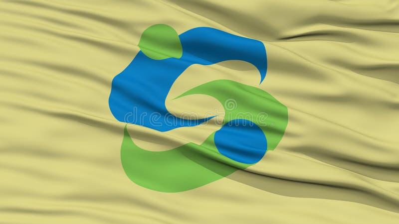 Nahaufnahme der Saga-Flagge, Hauptstadt von Japan-Präfektur vektor abbildung