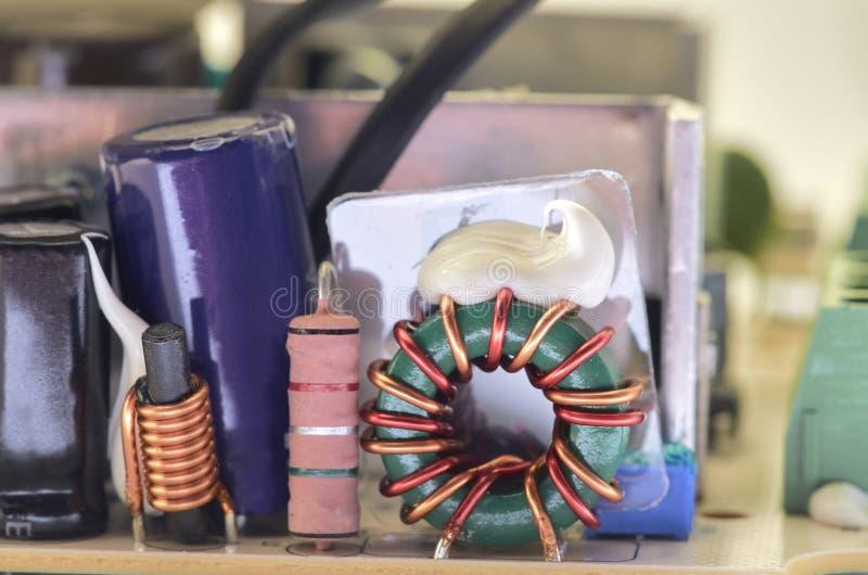 Nahaufnahme der Videowechselsprechanlagenstromversorgung stockfoto