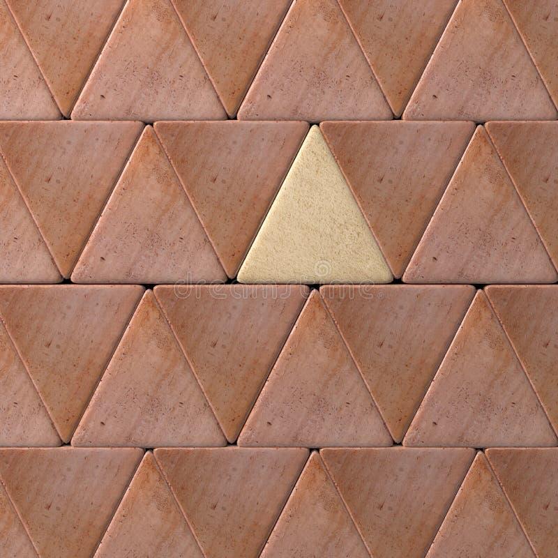 Nahaufnahme der Wand gemacht von einem beige und roten Dreiecken lizenzfreie abbildung