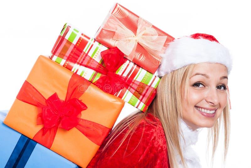Nahaufnahme der Weihnachtsfrau mit vielen stellt sich dar stockfoto