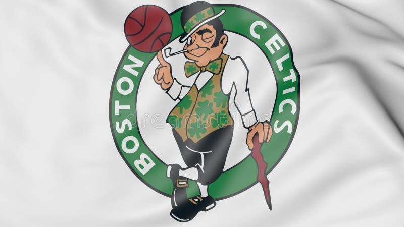 Nahaufnahme der wellenartig bewegenden Flagge mit Boston-Celtics NBA-Basketball-Team-Logo, Wiedergabe 3D vektor abbildung