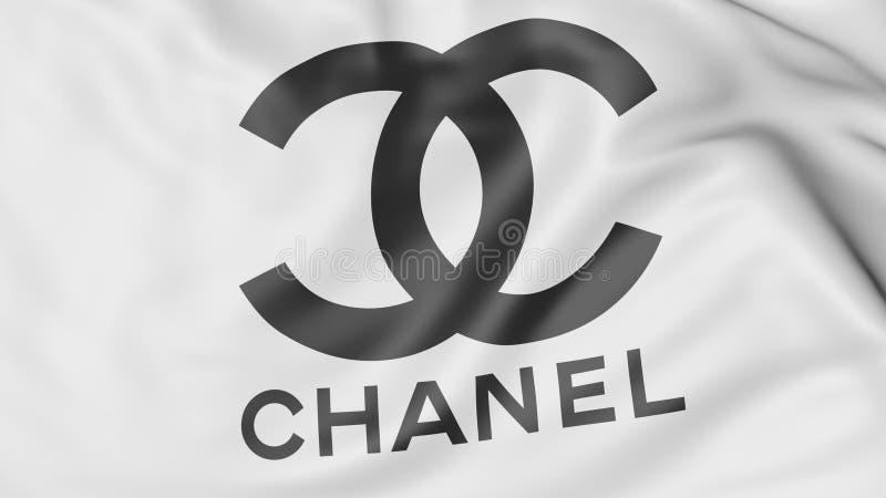 Nahaufnahme der wellenartig bewegenden Flagge mit Chanel-Logo, redaktionelle Wiedergabe 3D stock abbildung